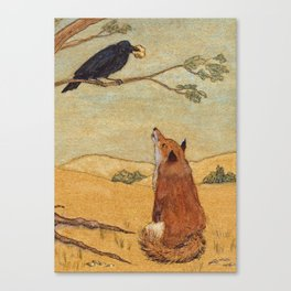 Fox and Crow, Aesop's Fable Illustration in the style of Arthur Rackham and Howard Pyle Canvas Print