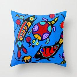 Salmon and Turtles Throw Pillow