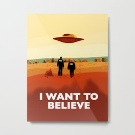 Mulder and Scully I want to believe poster Metal Print