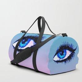 Digital Watercolor Female Eye Duffle Bag