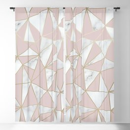 Marble, Geometric, Blush Pink and Gold Abstract Pattern Blackout Curtain