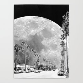 California Dream // Moon Black and White Palm Tree Fantasy Art Print Poster