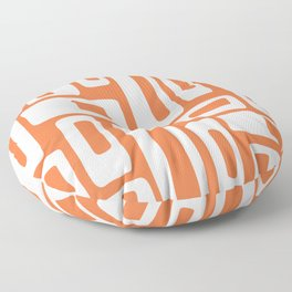 Retro Mid Century Modern Abstract Pattern 335 Orange Floor Pillow