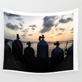 Scuba Sunset Wall Tapestry