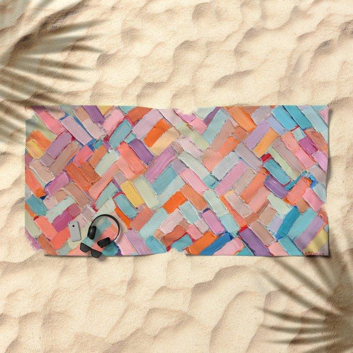 Hot Pink Internodes Beach Towel