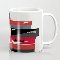 sneaker Mugs featuring SNEAKER HEAD RED by RickART