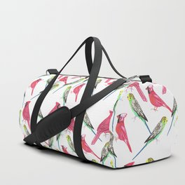 Birds in complementary color scheme- Budgies and cardinals Duffle Bag