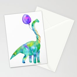 brachiosaurus with balloon Stationery Cards