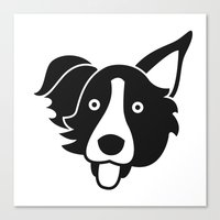 border collie Canvas Prints featuring Border Collie by anabelledubois