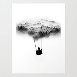 Black and White Mountain Swing Art Print