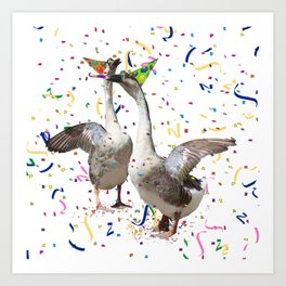 Partying Geese Art Print