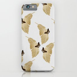 Butterfly & Palm Leaf, Gold Wall Art iPhone Case