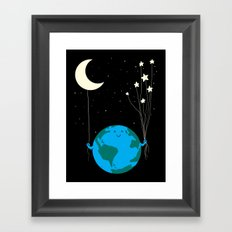 Under the moon and stars Framed Art Print