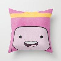 princess bubblegum Throw Pillows featuring Princess Bubblegum by Some_Designs