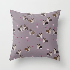 pink dot corgis Throw Pillow