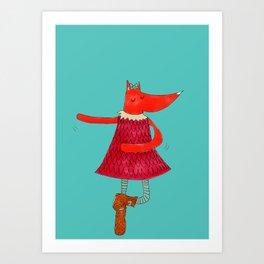 Dancing Fox Art Print