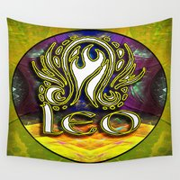 astrology Wall Tapestries featuring Leo Zodiac Sign Astrology by CAP Artwork & Design