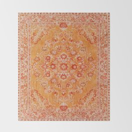 N78 - Orange Antique Oriental Berber Moroccan Style Carpet Design. Throw Blanket