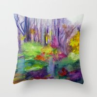 vermont Throw Pillows featuring VERMONT by Shayna Carolyn
