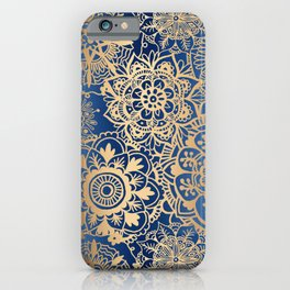 Blue and Gold Mandala Pattern iPhone Case