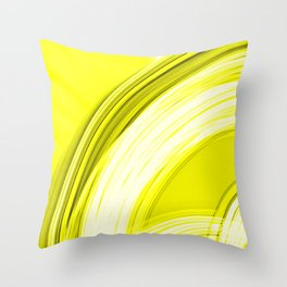 Semicircular sections of yellow metal with intersections of bright strings.  Throw Pillow