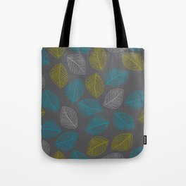 Mid Century Modern Falling Leaves Turquoise Chartreuse Gray Tote Bag