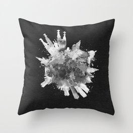 Barcelona, Spain Black and White Skyround / Skyline Watercolor Painting (Inverted Version) Throw Pillow
