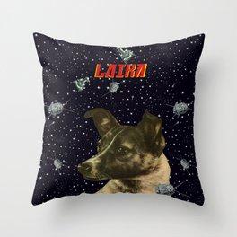 Gagarin space art #2 - Laika Throw Pillow
