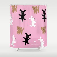 poodle Shower Curtains featuring POODLE PARTY by BARCELONETTE