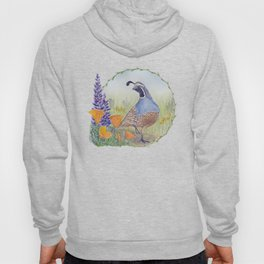 California Quail with Poppies and Lupine on Blue Hoody