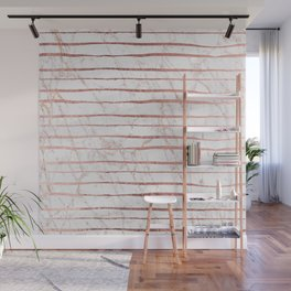 Stylish rose gold glitter stripes white marble pattern Wall Mural