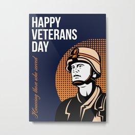 Happy Veterans Day Serviceman Greeting Card Metal Print