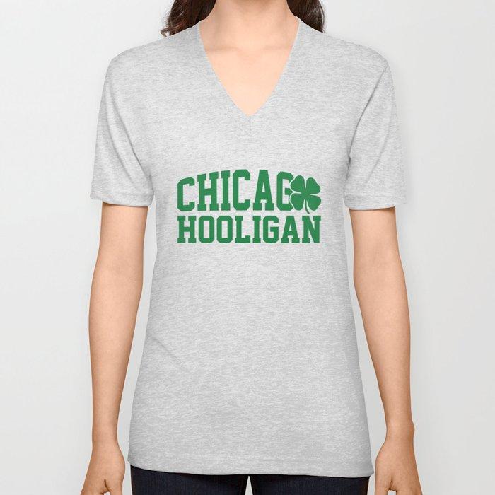Chicago Hooligan Green Shamrock St Patricks Day Cool Unisex V-Neck