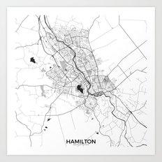 Hamilton Map Gray Art Print