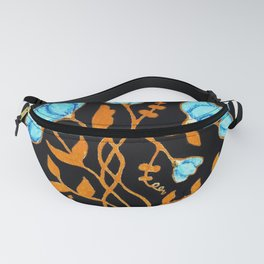 Blue Gold Stemmed Wildflowers Circular Design Fanny Pack