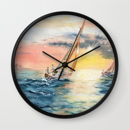 Sailing To The Sunset  Wall Clock