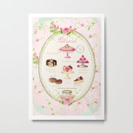 Pink Patisserie Rose Metal Print