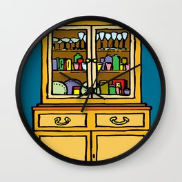 kitchen cupboard art, kitchen cupboard, drawings kitchen decor, Wall Clock