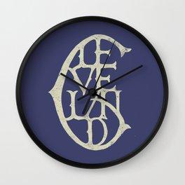 Vintage Cleveland Typography (Dark) Wall Clock