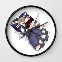 johnlock Wall Clocks featuring John & Sherlock by Arisu