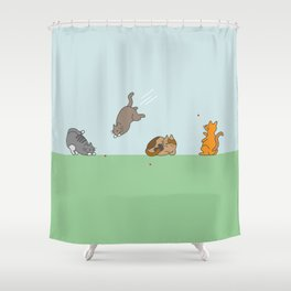 The Red Dot Invasion Shower Curtain