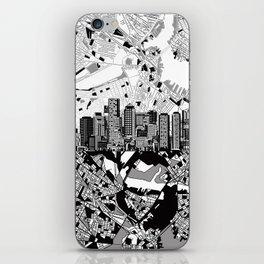 boston city skyline black and white iPhone Skin