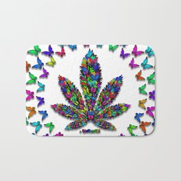 Butterflies Cannabis Leaf 2 Bath Mat