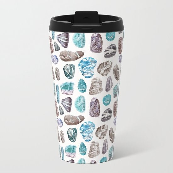 Ocean Sea Stones Pattern Metal Travel Mug