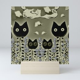 tulip cats on a flower field and birds in the sky Mini Art Print
