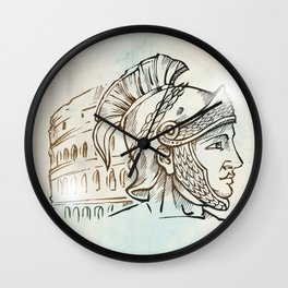 roman warrior on colosseum background Wall Clock