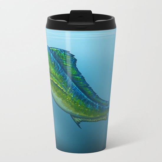 """El Dorado"" by Amber Marine ~ Mahi Mahi / Dolphin Fish Art, (c) 2015 Metal Travel Mug"