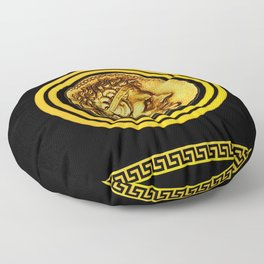 Greek Key and Coin - Black Floor Pillow