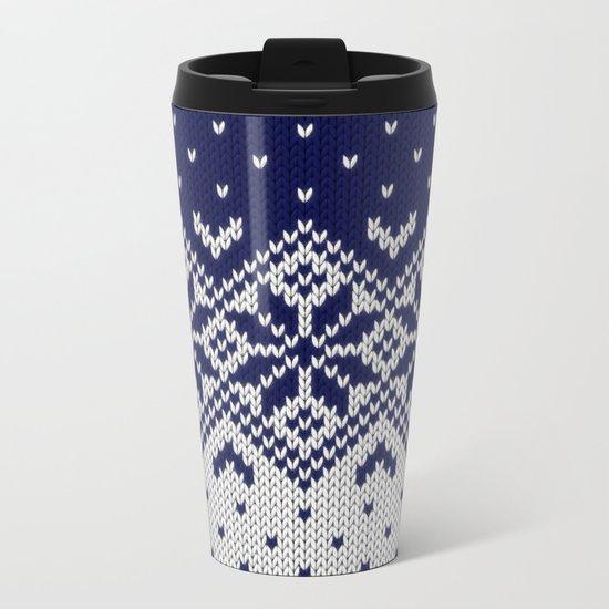 Winter knitted pattern 9 Metal Travel Mug