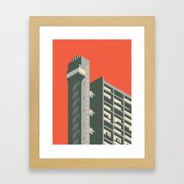 Trellick Tower London Brutalist Architecture - Plain Red Framed Art Print